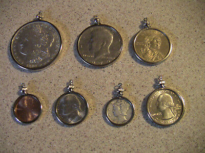 8 COIN BEZELS, GOLD PLATED, ONE OF EACH SIZE + -