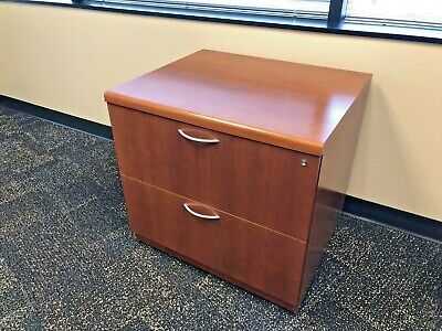 2dr 30w Lateral File Cabinet By Steelcase Office Furn In Cherry Finish Wood