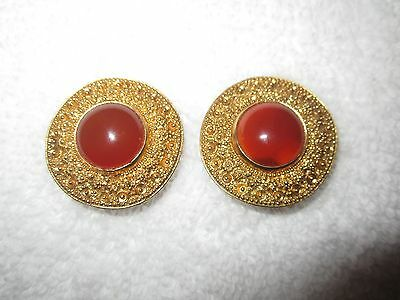 MMA NY Metropolitan Museum Gold Carnelian Cabochon Clip Earrings Carved Shield