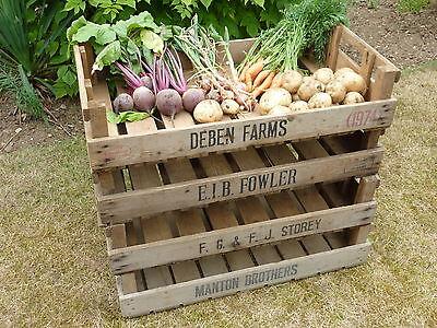2 VINTAGE RUSTIC WOOD FARM TRAY APPLE CRATE POTATO CHITTING BUSHEL BOX