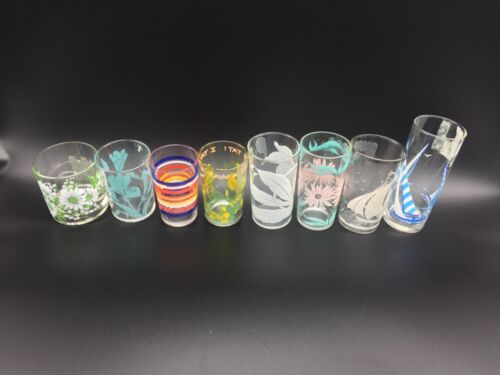 Vintage Lot of 8 JUICE WATER Mix Glasses Floral Boats Swigs Federal Libbey