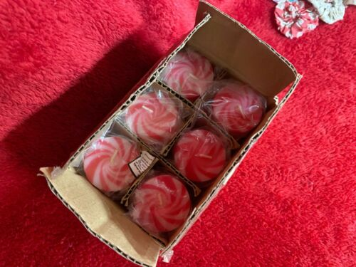 New In Package Dozen Peppermint Swirl Design Floating Candles Unscented