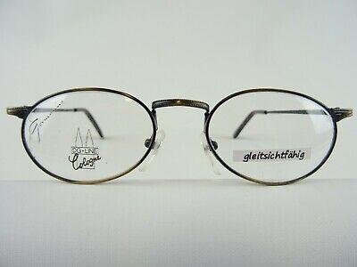 Brillengestell oval antikgold mit ovalen Gläsern preiswert Damen+Herren Gr. M