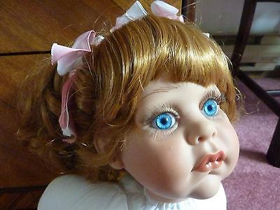 "24"" Fayzah Spanos 1997 LE 83/300 Signed ""Miranda"" Vinyl Doll, Red Hair Blue Eyes"