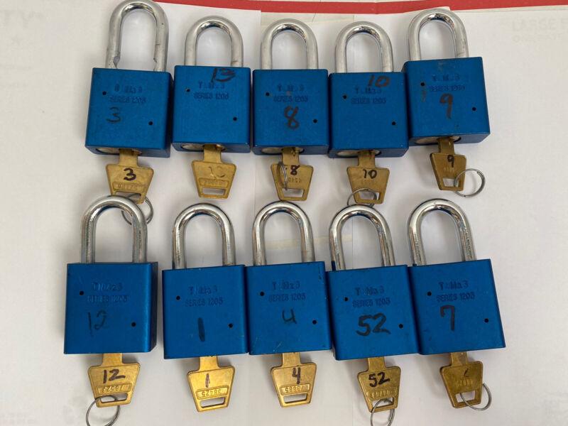 Lot of 10 American Lock Model Series 1205 w/ Key Different Padlocks Blue