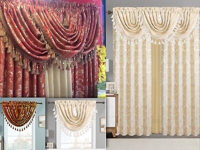 Empire Home Traditional Jacquard Olivia Window Curtain Panel/ Valance Drapery - Jacquard Window Treatments
