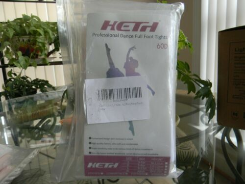 2 pack 1 Peach 1 WHITE  Heth Professional Dance Full Foot Tights 60D Size XL