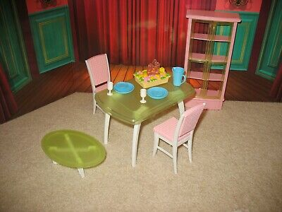 Mattel Barbie Light-Up Dining Room Furniture Table Chairs Hutch Dishes VGC