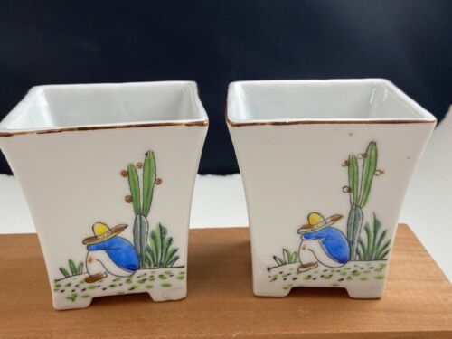 VINTAGE TRICO South American Mexican motif siesta cactus planter set of 2!