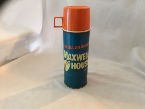 Vintage MAXWELL HOUSE COFFEE Metal Thermos w/Cork Good Condition!