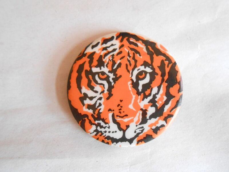 Cool Vintage Tiger Face Orange & Black Pinback