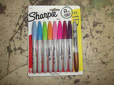 Sharpie Fine Point Permanent Markers 9 Count New Asst Colors With 1 Metallic