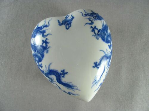 Vintage Porcelain Blue & White Dragon and Flaming Eyeball Heart Shaped Box