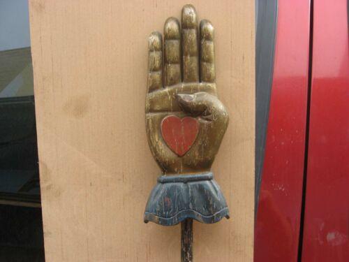 ODD FELLOWS LODGE WOODEN HEART IN HAND FOLK ART CEREMONIAL STAFF FRATERNAL