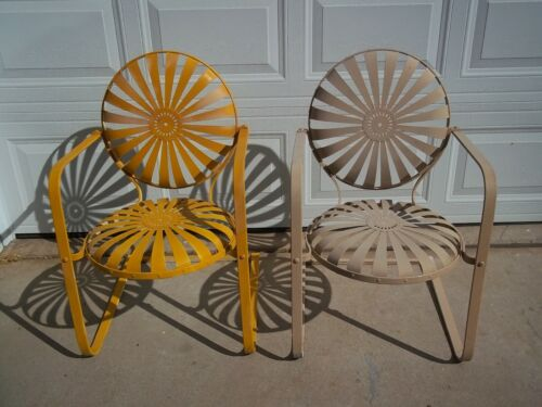2 Antique French Art Deco Francois Carre Sunburst Springer Garden Patio Chairs