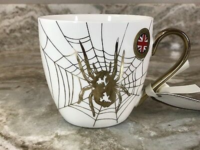 Large Halloween Spider Web (Large Coffee Mug Gold Spider And Web Cambridge Limited Edition For Halloween)