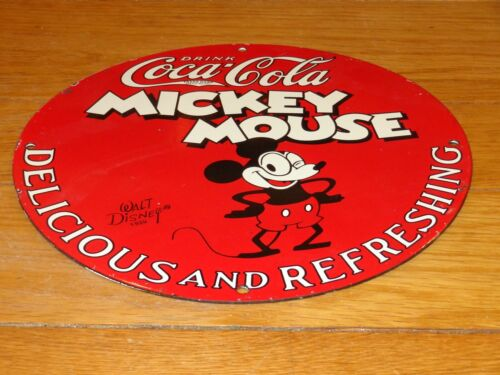 "VINTAGE 1928 MICKEY MOUSE COCA COLA #2 11 3/4"" PORCELAIN METAL GASOLINE OIL SIGN"
