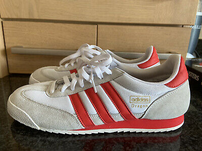 adidas dragon trainers size 8 White With Red Stripes