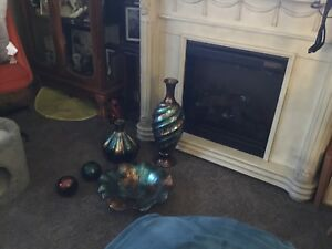 Teal and brown vases and bowl  $75 obo