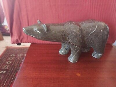 Vintage Cape Dorset Inuit Serpentine Stone Carving Polar Bear Sniffing BIN OBO