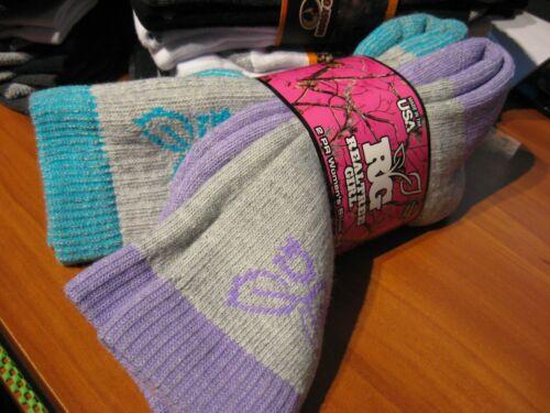 2 Pair Womens RG Realtree Girl All Season Boot Socks Sz 6-9 Turquoise & Purple