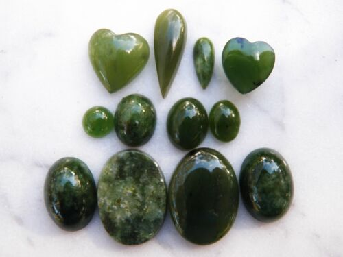 Lot 12 Spinach JADE NEPHRITE CABOCHONS Oval Heart Teardrop Round
