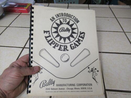 BALLY FLIPPER PINBALL GAMES MANUAL BOOK