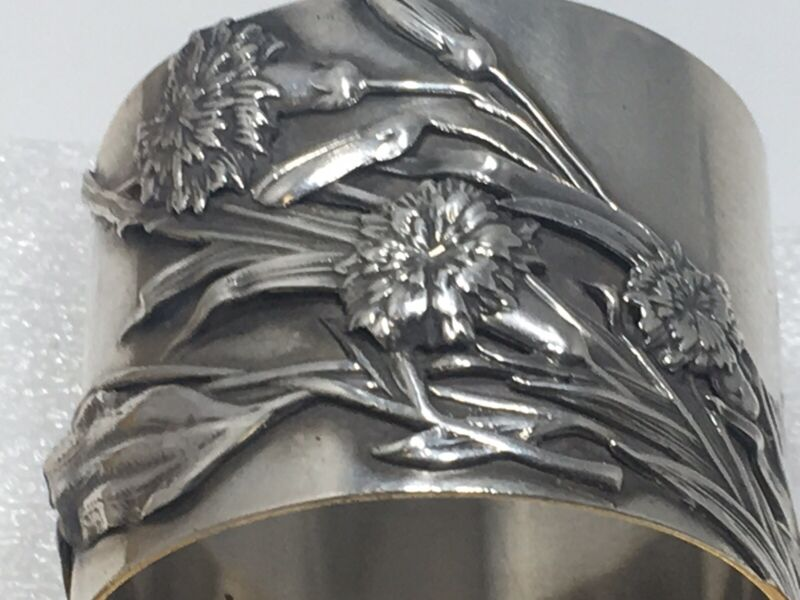 Shiebler Sterling Silver Applied Napkin Ring Bugs Flowers Amazing