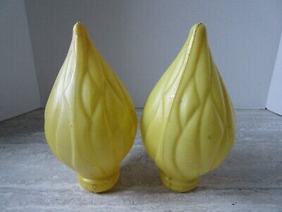 2 Old Vintage Blow Mold Christmas Candle Flames Outdoor Decor