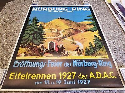 VINTAGE RACING POSTER NURBURG - RING BEI ADENAU 1927 PRINTED 1977 VERLAG H.u.C.