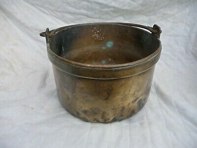 Antique Heavy Brass Log Basket Fireplace-Garden Planter pot Patio Flower Trough
