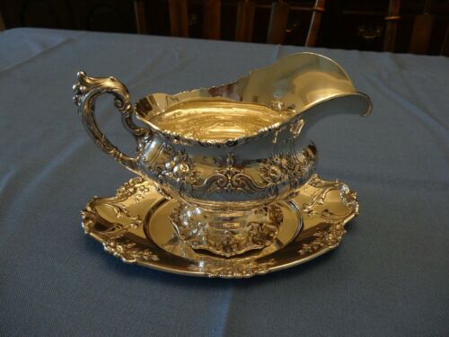 Francis I sterling silver Reed & Barton Gravy Boat w/tray, mint, original owner