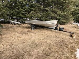 14 ft Thornes Boat with a 9.9 Evinrude and Trailer For Sale!