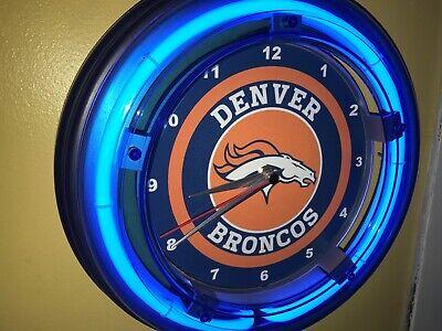 Denver Broncos Neon Clock (Denver Broncos Football Bar Man Cave Blue Neon Wall Clock Sign #2 )