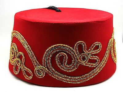 Fez Fes Turkish Ottoman Hat Tarboosh Ottoman Wear Bordaux RED B FREE SHIPPING