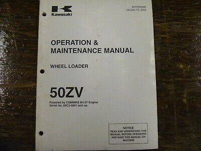 Kawasaki 50zv Wheel Loader Owner Operator Maintenance Manual Book