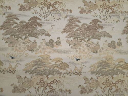 "ANTIQUE JAPANESE SILK BROCADE FABRIC - FLOWER PINE TREES &  CRANES - 166"" BY 27"""