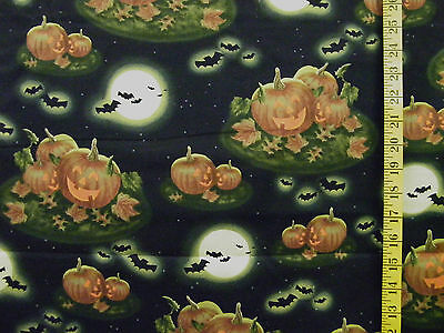 PUMPKINS IN THE MOONLIGHT HALLOWEEN PRINT 100% COTTON FABRIC  BY THE 1/2 YARD