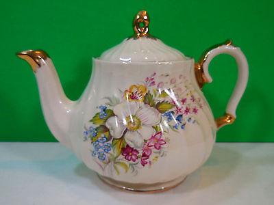 Vintage Sadler Teapot Off White Floral Bouquet Gold Trim Made England Numbered