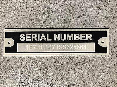 Serial Number Tag Plate Custom Engraved Cargo Utility Flatbed Landscape Trailer