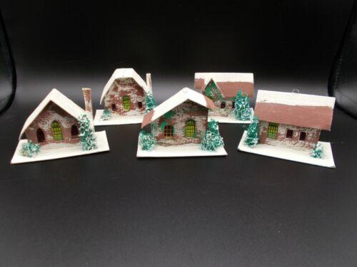 VINTAGE LOT JAPAN PUTZ CHRISTMAS CARDBOARD & MICA HOUSES LOOFA TREES
