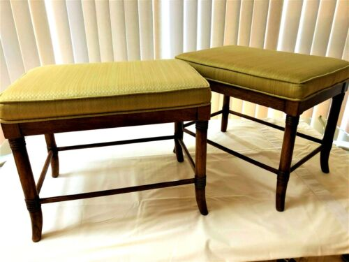 Pair of Faux Bamboo Campaign Ottomans Stools