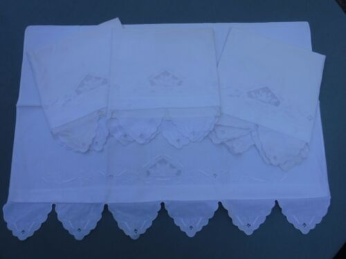 4pc Antique Vintage Embroidered Pillowcases Cutwork Scalloped Edge
