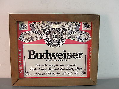 Budweiser Anheuser Busch Advertising Sign Beer Alcohol Vintage Wood Framed Glass