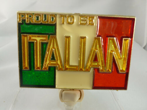 "STAINED GLASS STYLE "" PROUD TO BE AN ITALIAN ""  NIGHT LIGHT"