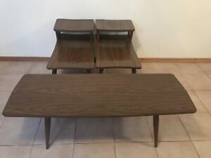 Antique coffee table with 2 end tables