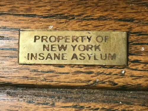 """PROPERTY OF NEW YORK INSANE ASYLUM"" SOLID BRASS STAMPED BADGE/PLATE NICE PATINA"