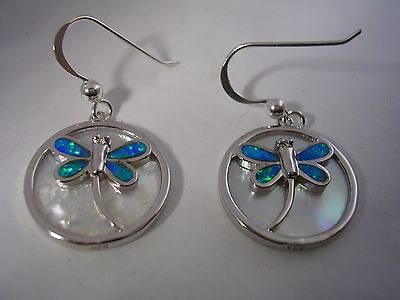 DRAGONFLY DANGLING EARRINGS WITH OPALS AND MOTHER OF PEARL IN STERLING SILVER   Mother Of Pearl Opal Earrings