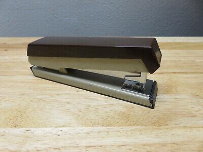 Vtg. Stapler Boston 41 Mid Century Modern Era Metal Brown Made In Usa Hunt Co.