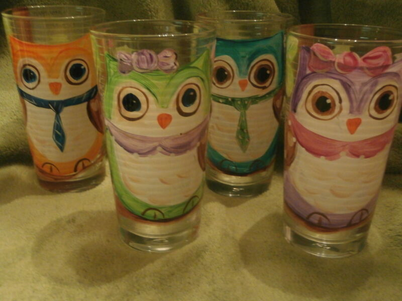 HAND PAINTED OWLS  15 OUNCE  TUMBLER/COOLERS SET OF 4/MADE IN THE USA